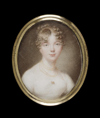 Circle of Peter Paillou, junior, A Lady, wearing white dress fastened with a gold brooch, gold chains at her neck, her brown hair curled