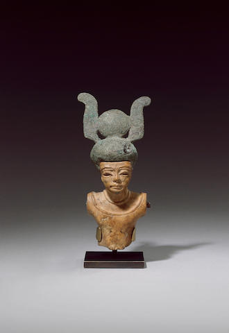 An Egyptianising male stone bust