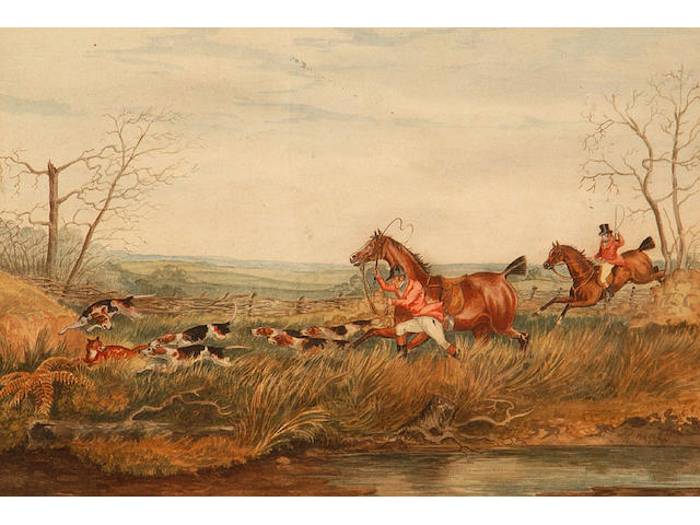 Circle of Henry Alken Pursuing two fox on a riverbank 23 x 133cm