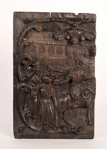 A fragment of an oak panel,