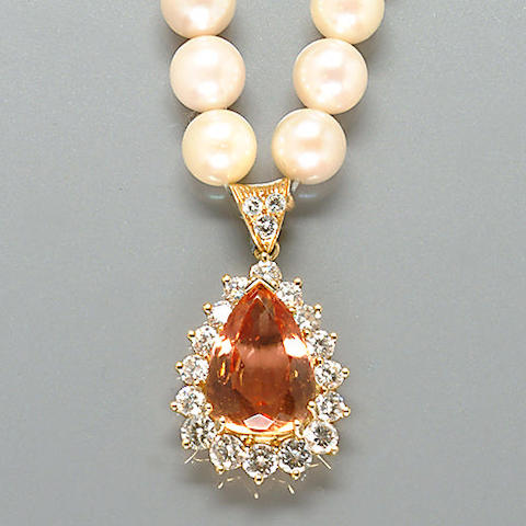 A topaz, diamond and cultured pearl necklace,