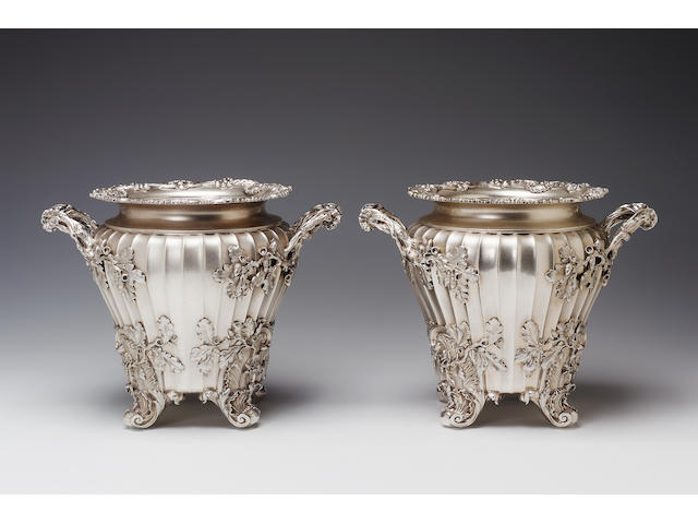 A good pair of George III wine coolers by Paul Storr, 1819,