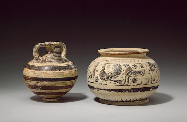 A Mycenaean stirrup vessel, restored lip and body and a Corinthian stamnos (Ex Christies South Kensi