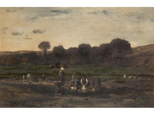 Mihaly Munkacsy (Hungarian 1844-1900) Washerwomen beside a river 54 x 80 cm. (21 1/4 x 31 1/2 in.)