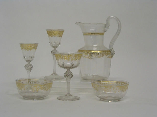 A part suite of Venetian glassware,