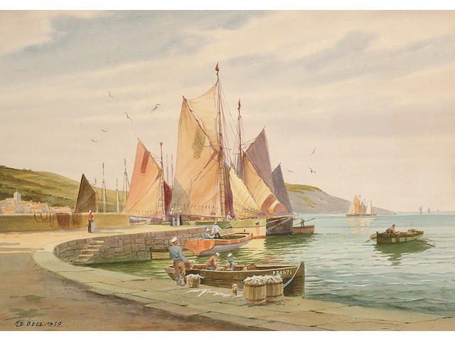 A.D. Bell (British, 20th Century), Penzance, Fishermen selling the catch, 24 x 34 cm.
