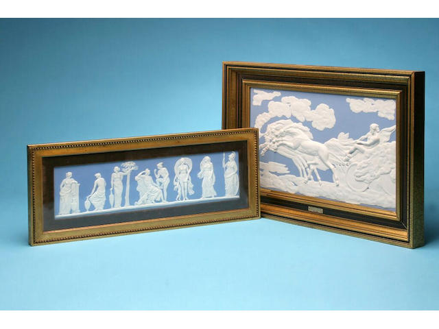 A Wedgwood jasper plaque 'The Fall of Phaeton', dated 1977,