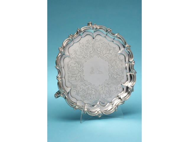A Victorian circular salver, by William Smiley, London 1860,