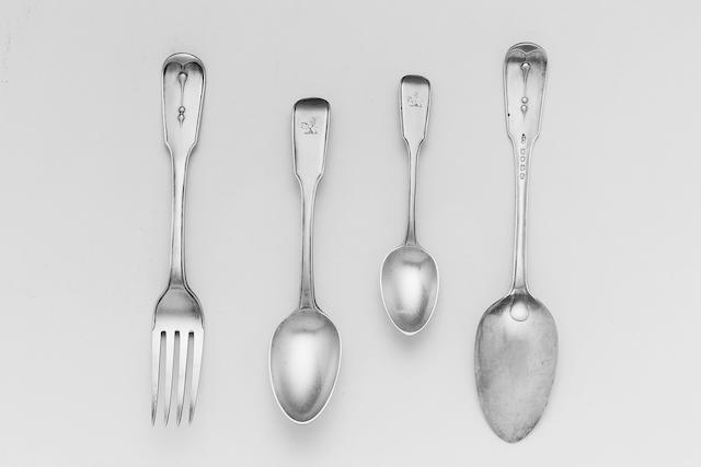 A Victorian Fiddle, Thread and drop pattern table service of flatware, by George Adams, all 1853, exception the teaspoons, 1854,