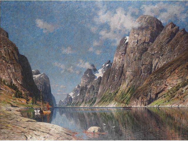 Adelsteen Normann (Norwegian 1848-1918) Boats in a fjord landscape, 112.5 x 151 cm (44 1/4 x 59 1/2 in)