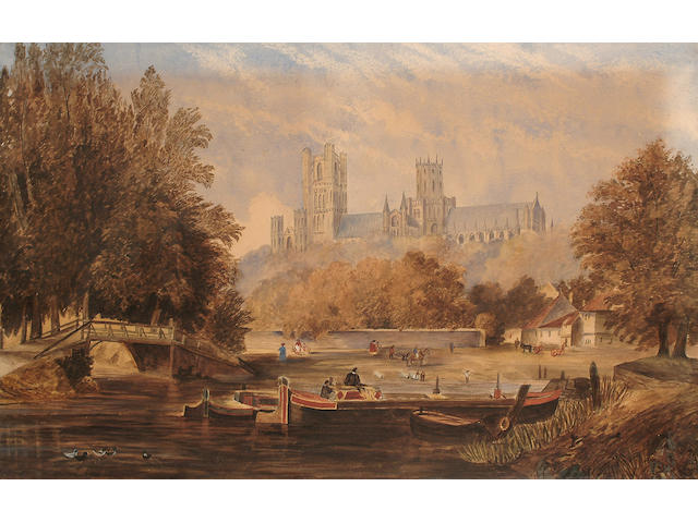 English School (19th Century), Ely Cathedral, with boats in the foreground, 61 x 96 cm