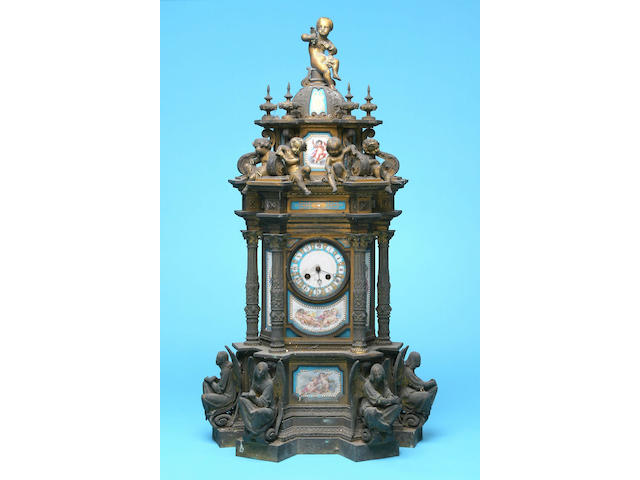 A large French ormolu and porcelain mounted mantel clock, circa 1875,