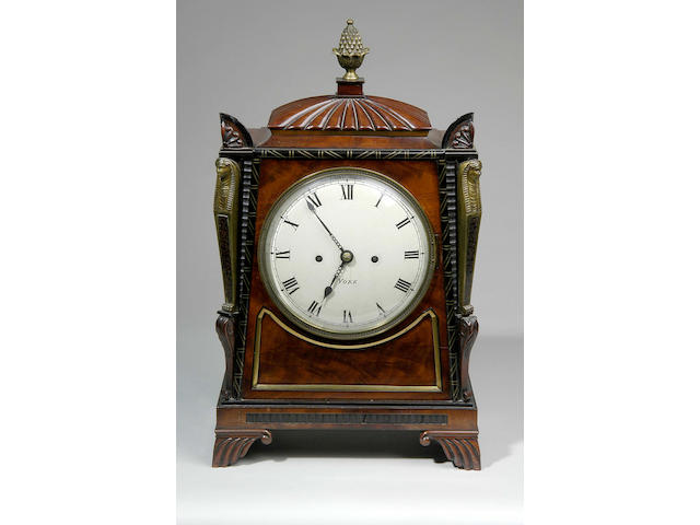 Barber Cattle and North, York; a Regency mahogany bracket clock