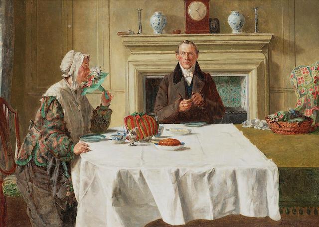 Walter Dendy Sadler (British 1854-1923) Her birthday, 41 x 56.5 cm (16 x 22 in.)