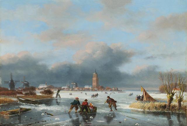 Nicholas Johannes Roosenboom (Dutch 1805-1880) Figures skating on a frozen river 29 x 42 cm. (11 1/2 x 16 1/2 in.)