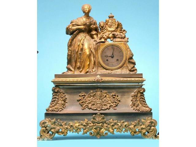 A French ormolu mantel clock, circa 1835,