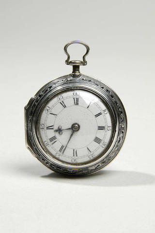 A George III silver pair cased pocket watch,
