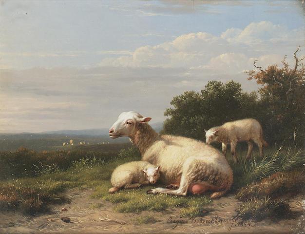 Eugène Joseph Verboeckhoven (Belgian 1798-1881) The proud mother 16 x 20 cm. (6 1/4 x 8 in.)