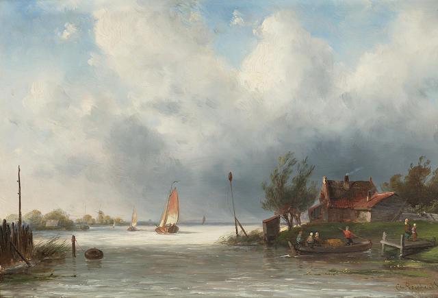 Charles Henri Joseph Leickert (Belgian 1818-1907) Estuary scene 18.5 x 27 cm. (7 1/4 x 10 1/2 in.)