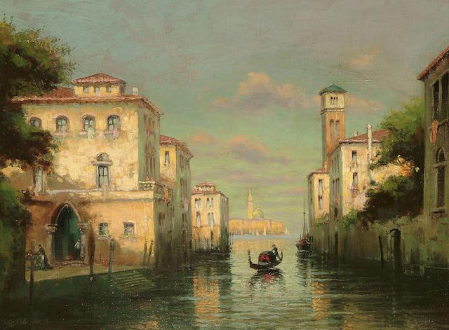 Follower of Antoine Bouvard A scene on a Venetian canal, 17 1/2 x 23 3/4 in. (44.5 x 57.7 cm.)