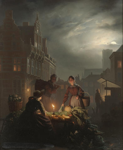 Petrus van Schendel (Belgian 1806-1870) A market stall by candlelight 39 x 31 cm. (15 1/4 x 12 1/4 in .)