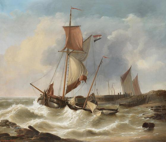 Louis Verboeckhoven (Belgian 1802-1889) Boats in a stiff breeze 63 x 73 cm. (24 3/4 x 28 3/4 in.)