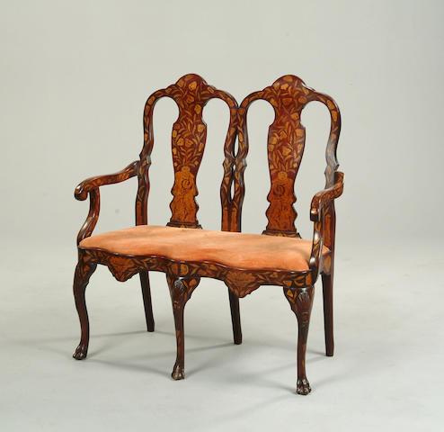 A 19th century Dutch marquetry sofa