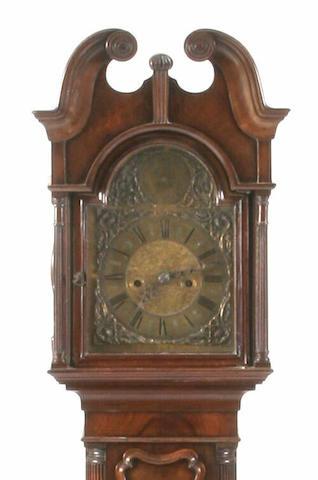 An early 20th Century miniature walnut longcase clock, T.Hill, Hull,
