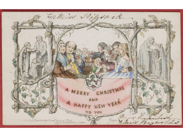 Christmas Card One of the first Christmas cards, in a frame, dating from 1843 and showing a family e