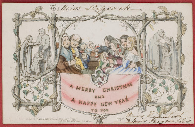 Christmas Card One of the first Christmas cards, in a frame, dating from 1843 and showing a family eating Christmas dinner.   The card was commissioned by Sir Henry Cole who had the card designed by J.C. Horsley a well known artist who also painted portraits of Prince Albert and Queen Victoria. He was an active public figure who had been a Captain in the Dragoon Guards, was involved in the introduction of the penny post, helped organise the Great Exhibition in 1851 and was a founder of the Victoria & Albert Museum.   1,000 cards were printed and they were sold at one shilling each (5p), but only around 20 are thought to have survived, very few of which are in private hands, the majority being in museums or public archives.   This card is addressed to a Miss Tripsack who was a close friend of the family of poetess Elizabeth Moulton Barrett who, in 1846, married Robert Browning. There is also some supporting correspondence, ephemera and newspaper cuttings concerning the card, VG.