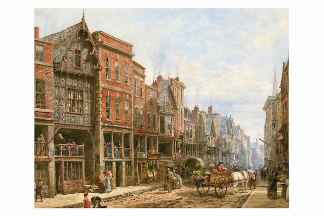 Louise Rayner (1831 - 1924) Watergate Street, Chester, 43.5 x 55cm.