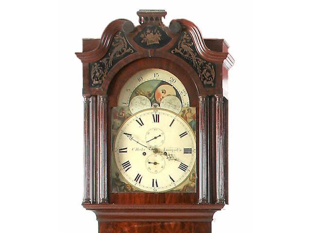 A mahogany and ebony strung painted dial longcase clock, Charles Hicks, Liverpool, circa 1840,