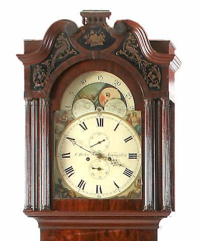 A mahogany and ebony strung painted dial longcase clock, Charles Hicks, Liverpool, circa 1840,