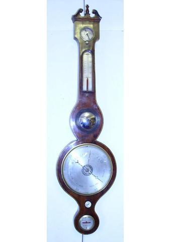 A mid-19th Century mahogany boxwood strung banjo barometer,