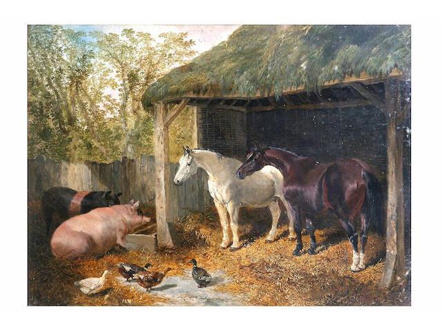 John Frederick Herring (1815 - 1907) Farmyard companions, 37 x 50cm.