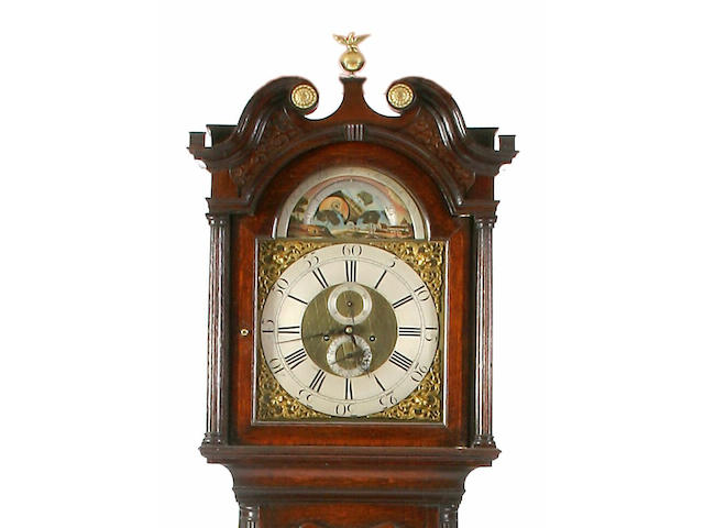 An oak and mahogany crossbanded longcase clock, Obadiah Brandreth, Middlewich, circa 1770,