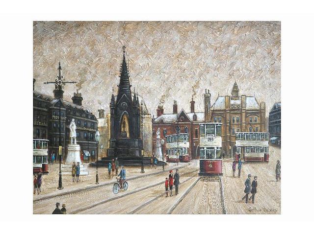 Arthur Delaney (1927 - 1987) Albert Square, Manchester, 29 x 36.5cm.