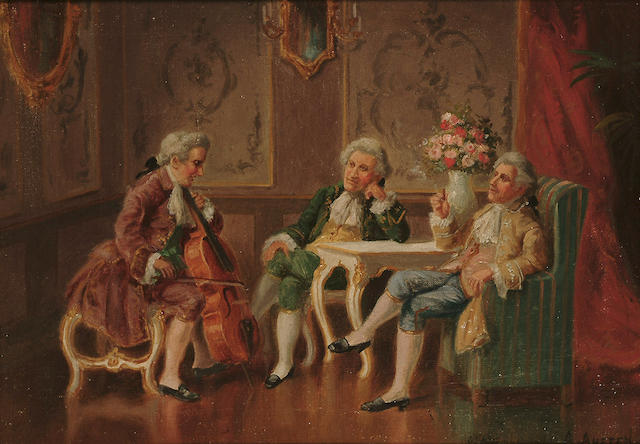 Alexander Austen (British, fl.1891-1909) The recital; The wine connoisseurs, each 10 1/8 x 14 1/4 in.(25.7 x 36.2 cm.) (2)