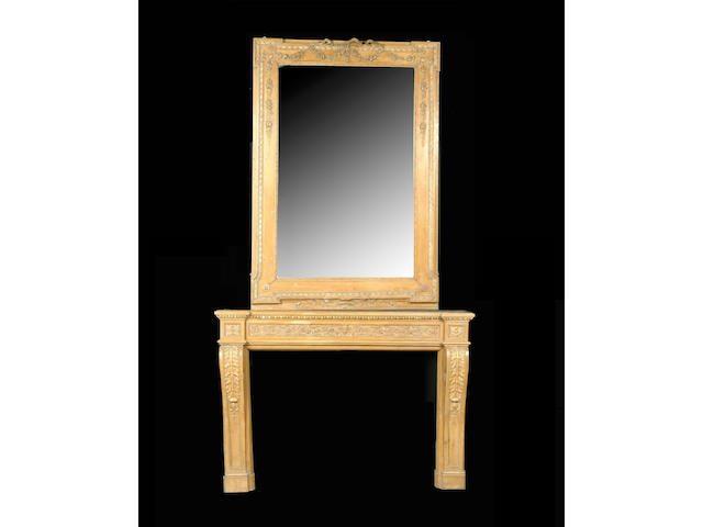 A late 19th / early 20th century French grained carved pine and gesso overmantel mirror and chimneyp