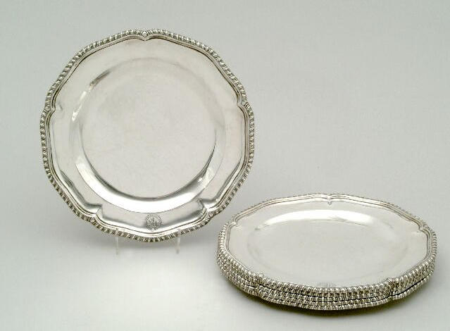 A set of six Victorian plates, by J & W Marshall, Edinburgh 1867,