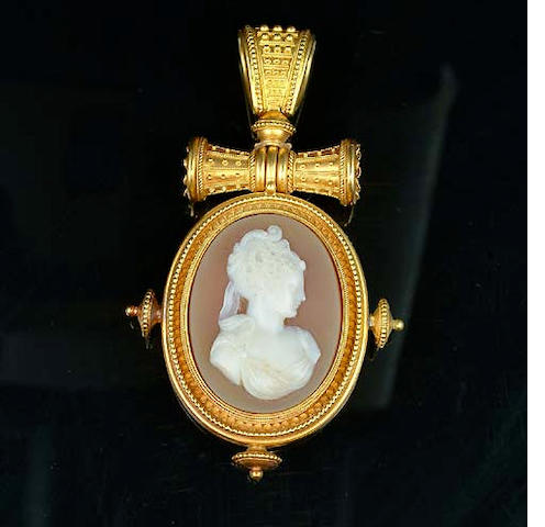 A late 19th century hardstone cameo locket pendant,