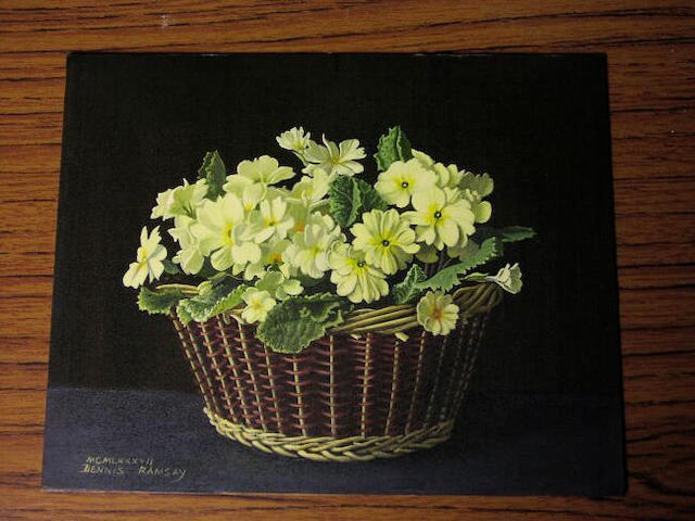 Dennis Ramsay (b.1925), still life of primroses in a wicker basket, 20.5 x 25.5cm, (unframed).