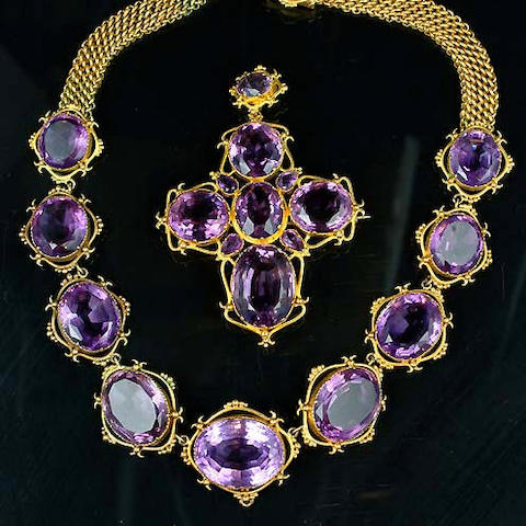 A 19th century amethyst and gold demi-parure,