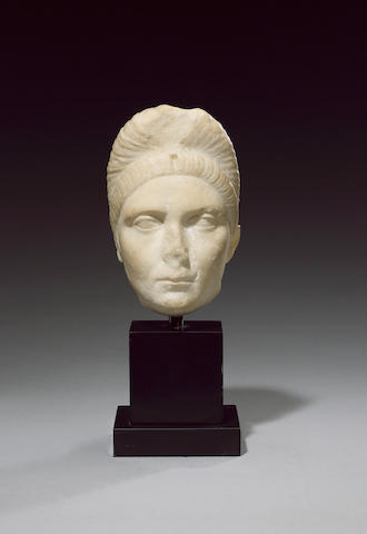 A Roman marble head of the Empress Plotina