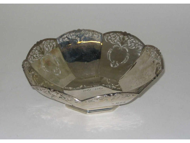 "A decorative bowl, maker's mark ""J W & Co"", 1937,"