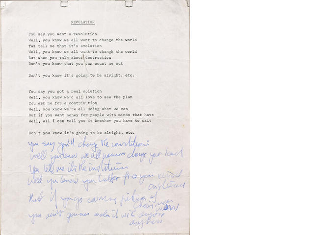 John Lennon's lyrics for 'Revolution', 1968,