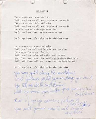 John Lennon's lyrics for 'Revolution', 1968,