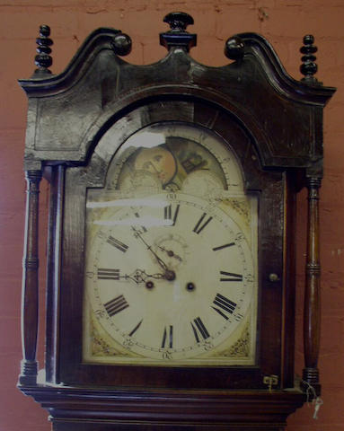 A mahogany and chequered strung painted dial longcase clock, composite, 18th and 19th Centuries,