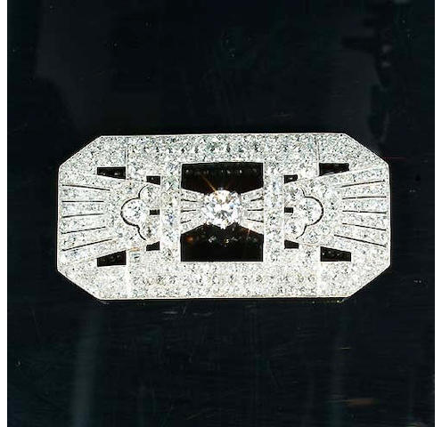 A diamond plaque brooch,