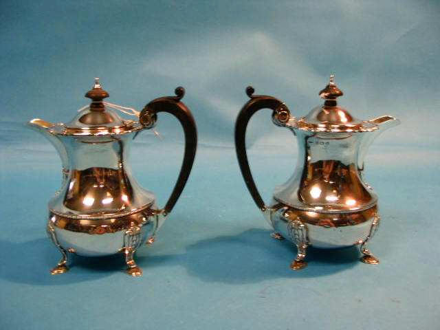 A pair of teapots, Birmingham 1945 and 1946, and sugar bowl